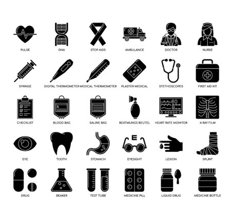 Medical , Thin Line and Pixel Perfect Icons Vektorové ilustrace