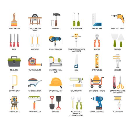 Construction Tools , Thin Line and Pixel Perfect Icons 向量圖像