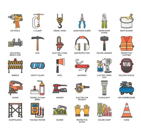 Construction Tools 2 , Thin Line and Pixel Perfect Icons Banque d'images - 135216644