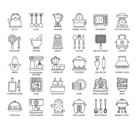 Utensilios de cocina, iconos de líneas finas y píxeles perfectos