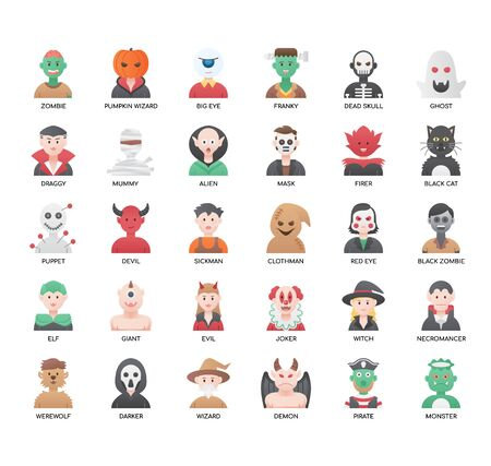 Set of halloween thin line and pixel perfect icons for any web and app project. 矢量图像