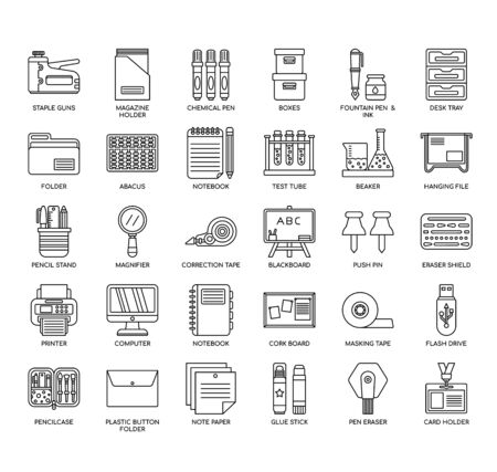 Stationery , Thin Line and Pixel Perfect Icons Illustration
