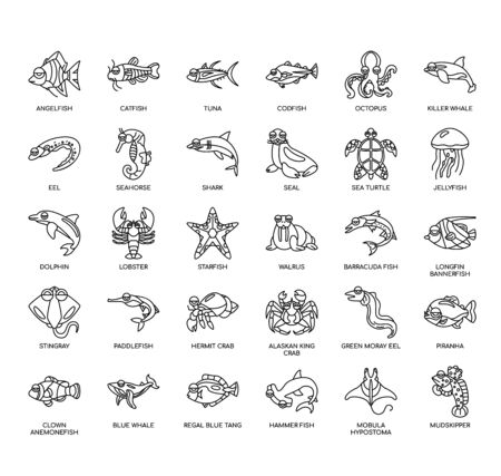 Aquatic animal, Thin Line and Pixel Perfect Icons