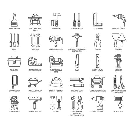 Construction Tools, Thin Line and Pixel Perfect Icons