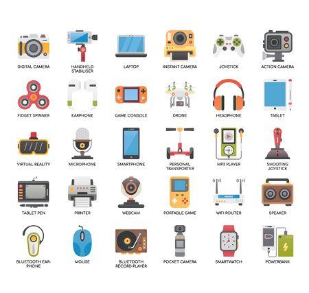 Iconos perfectos de gadgets, líneas finas y píxeles