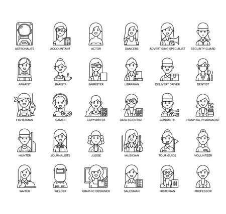 Female Occupation, Thin Line and Pixel Perfect Icons