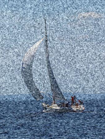 yacht race: Vela. Yacht carrera en la bah�a de Kvarner Foto de archivo