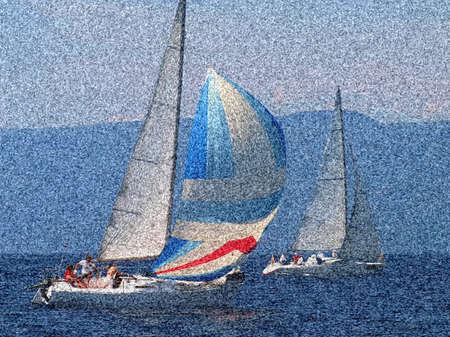 yacht race: Vela. Barco de regatas en la bah�a de Kvarner