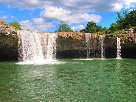 low lake waterfall