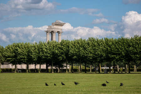 Roman Temple with field in foreground in Xanten Germany