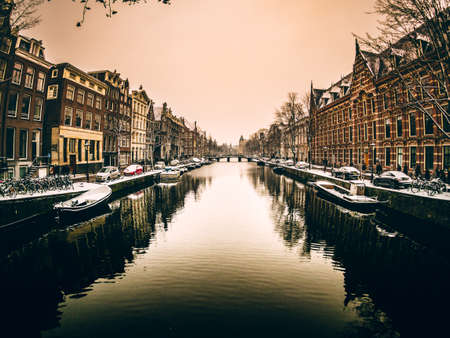 Amsterdam Canal in Winter Time.
