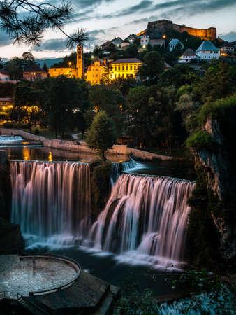 Waterfall in Jajce in Sunset Stock Photo