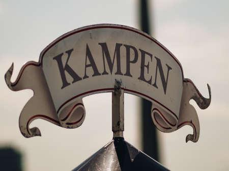 Camping sign, in German Kampen Stock Photo