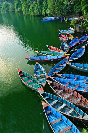 colourful rowboat at the Phewa lake Stock Photo - 11227929
