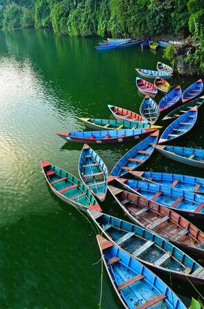 colourful rowboat at the Phewa lake Stock Photo - 11227929