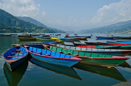 rowboat at phewa lake,pokhara,nepal Stock Photo - 11353078
