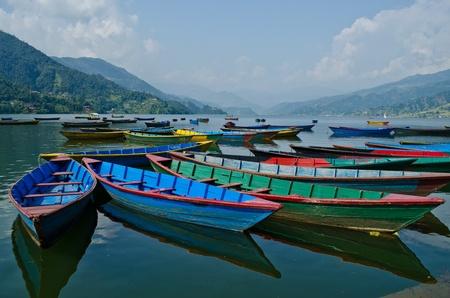 rowboat at phewa lake,pokhara,nepal Stock Photo
