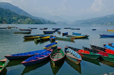 rowboat at phewa lake,pokhara,nepal Stock Photo