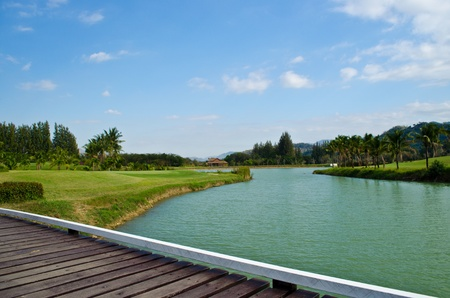 lake view in golf-course, thailand Stock Photo