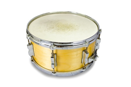 plywood snare drum isolated on white background photo