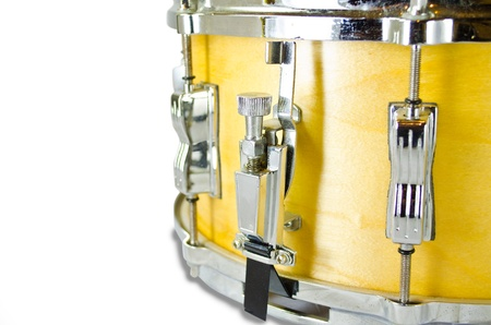 used snare drums lug i solated on white background photo