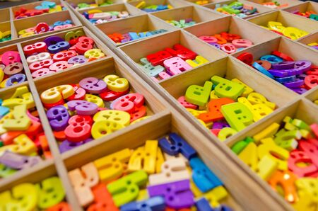 create idea: plastic multicoloured alphabet in the box ready for create idea Stock Photo