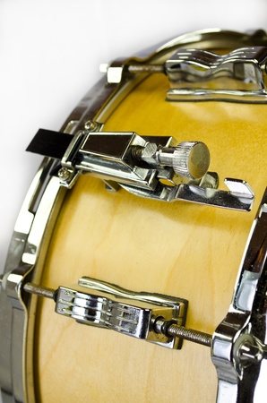 lugs of plywood snare drum isolatedon white background