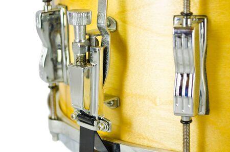 lugs: lugs of plywood snare drum isolatedon white background