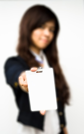 business woman showing blank id card Stock Photo - 13408032