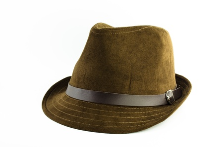 flannel: brown flannel hat with leather belt isolated on white background Stock Photo
