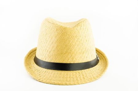 yellow weaving hat with black belt on white background Stock Photo