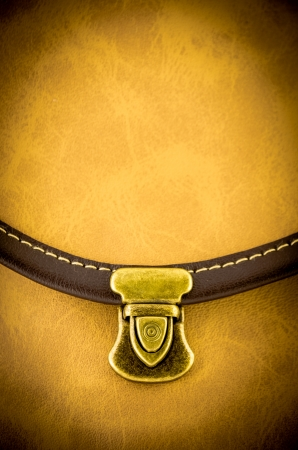 close up of leather bag lock