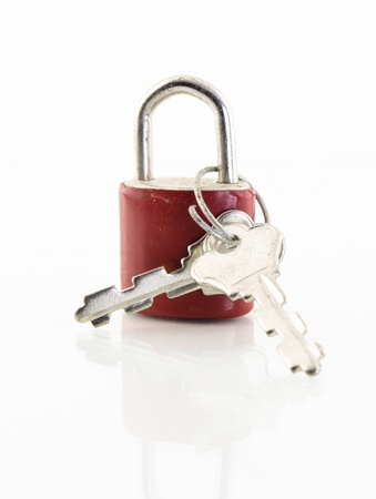close up of red lock isolated on white background photo