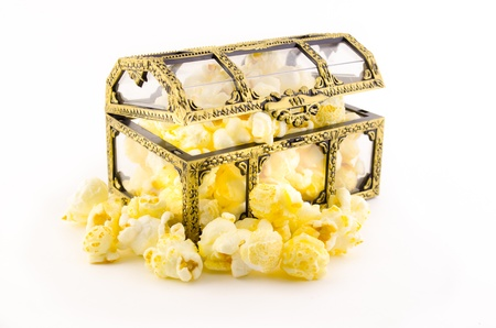 popcorn in plastic treasure box on white background Stock Photo - 14552651
