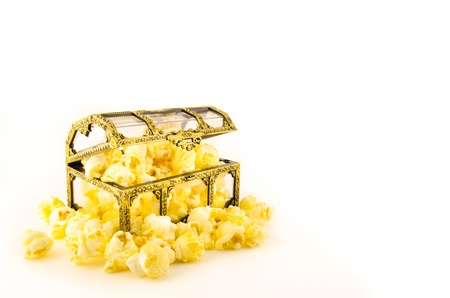 popcorn in plastic treasure box on white background Stock Photo - 14630852