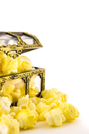 popcorn in plastic treasure box on white background Stock Photo - 14630853
