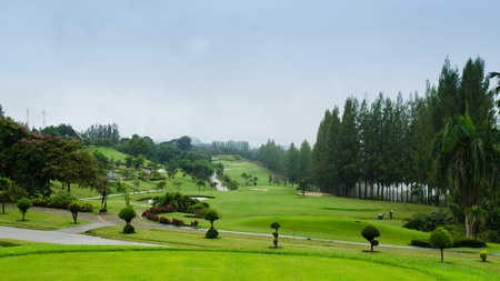 view of golf course in the morning  in thailand