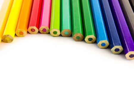 group of color pencil isolated on white background photo