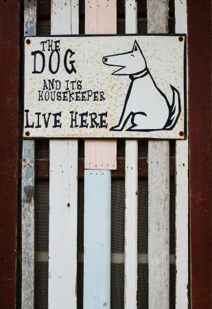 steel dog sign on wood plank background Stock Photo - 19697493