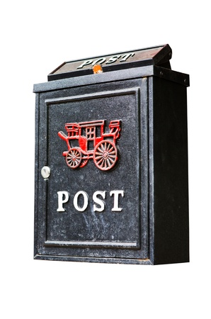 vintage postbox isolated on white background