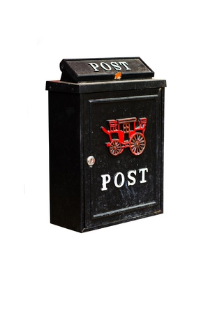 vintage postbox isolated on white background photo