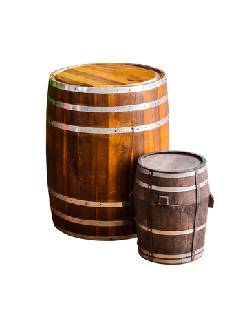 beer barrel: wood barrel isolated on white background Stock Photo
