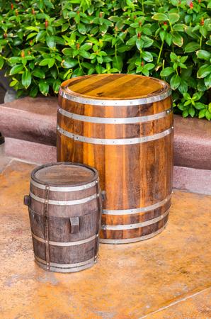 wood barrel isolated on white background Stock Photo