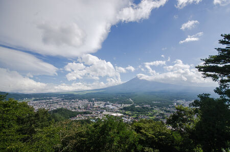 no snow: mount fuji in summer with no snow