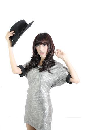 velvet dress: portrait of modern women with black velvet hat