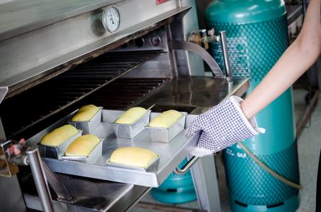 baked pandan bread in stainless steel block Stock Photo