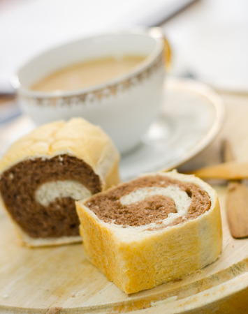 serve: tow tone bread serve with hot coffee