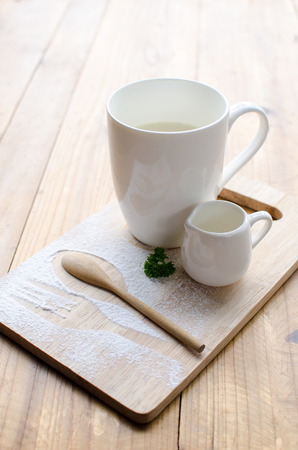 dish design of hot milk sever with syrup Stock Photo