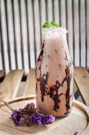 chocolate frappe in fat glass