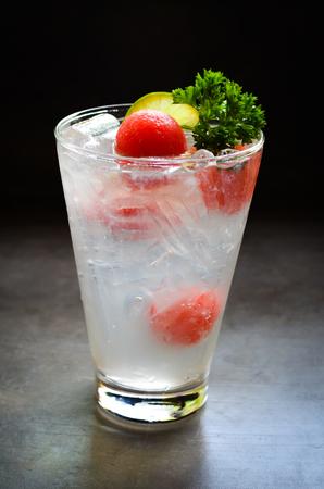 fresh sparkling lemon juice with water melon - Image Stock Photo